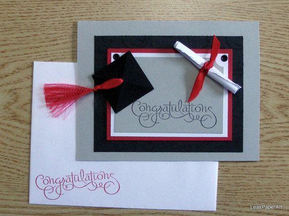 Handmade PaperArt Graduation Congrats Greeting Card Card, Stampin Up Image, Heavily Embellished, Blank Inside. $4.00, via Etsy.