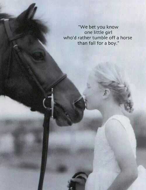 We bet you know at least one little girl who would rather fall off a horse than fall for a boy. #horsequotes