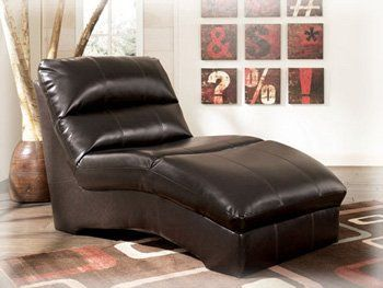 Modern chocolate durablend chaise by famous brand for Ashley furniture leather chaise