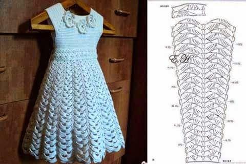 Cantinho da Jana: Gráfico de vestido infatil de crochê ❤️LCK-MRS❤️ with diagrams