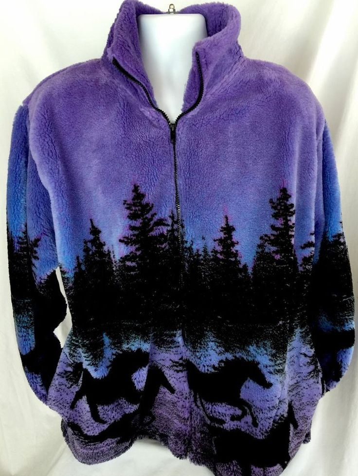 Womens Black Mountain Purple Blue Horses Sz Large Jacket Plush Fleece Zip Up 80s | eBay