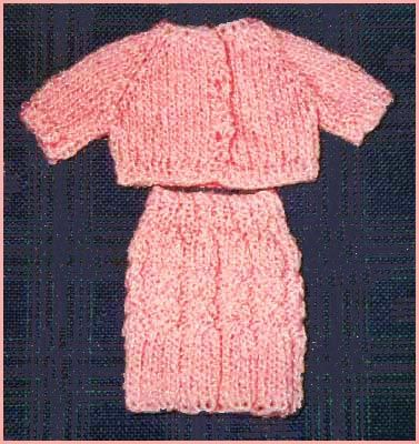 Barbie Doll Cardigan and Cable Skirt Knitting Pattern