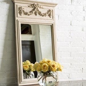 Wood Framed Mirror | Decorative Wall Mirrors | Rectangular Framed Mirror Antique Farm House