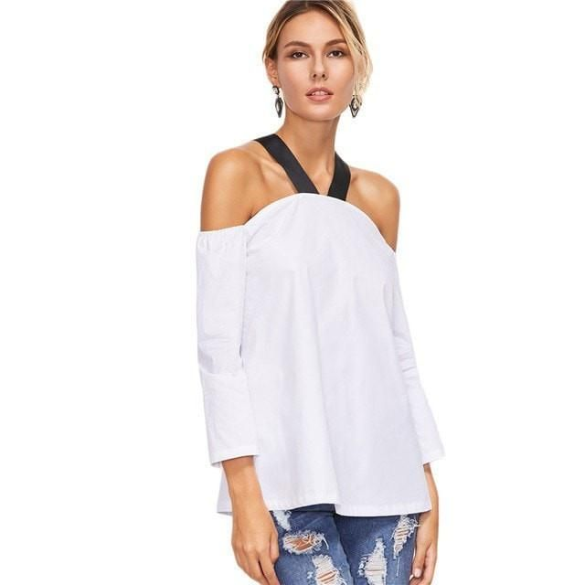 New Trendy Off-Shoulder Contrast Strap Summer Top XS-L