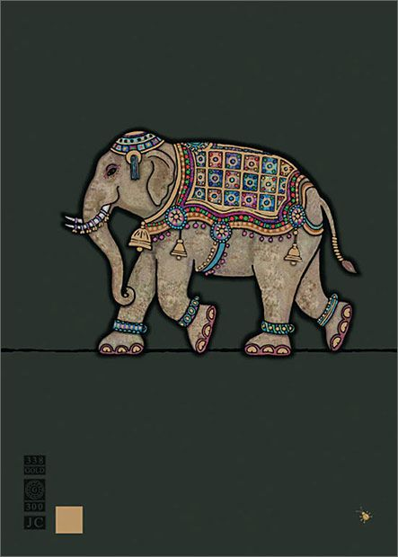 Indian Elephant - Bug Art greeting card