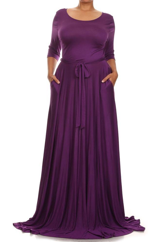 Plus Size Purple Rayon Jersey Full Sweep X Long Skirt Maxi