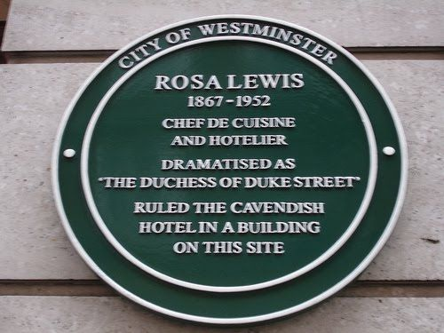 On 16 November 2006, Gemma Jones unveiled Westminster City Council's Commemorative Green plaque to Lewis, near the entrance to the old hotel in Jermyn Street. The plaque was the 68th in the Scheme. It honoured Lewis as a Chef de Cuisine and Hotelier.