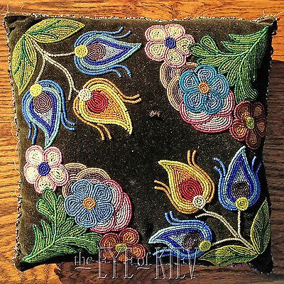 Beautiful beaded Pillow, possible Cree. I so want to learn this .. with much practice :)