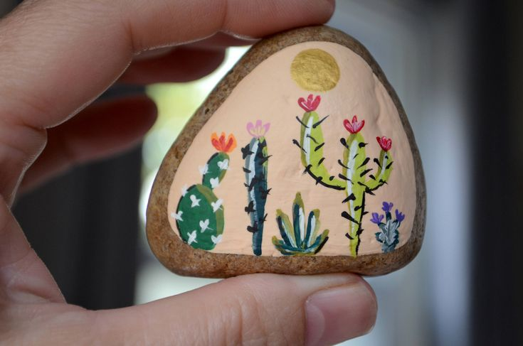 Painted Cactus Rock, Desktop Decor, Cactus Art, Hand Painted Rock Art, Southwestern Decor Art, Paperweight, Meditation Stone, Desert Cacti by hisOpal on Etsy https://www.etsy.com/listing/547900950/painted-cactus-rock-desktop-decor-cactus