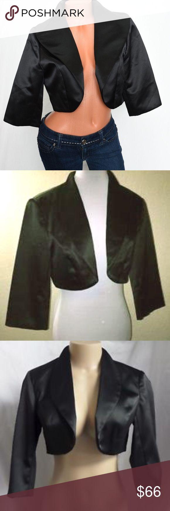 WHITE HOUSE BLACK MARKET Black Satin Bolero WHBM Satin Bolero Jacket in Black   Basic Staple- Goes with everything, Jeans, slacks, dresses and shirts   New item White House Black Market Jackets & Coats