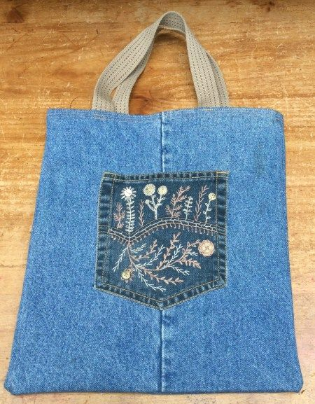 Hand Embroidered Denim Bag - Brian Haggard Style - Sew, What's New?