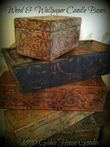 old boxes to put gifts in for the primitive lover.fill with fabric scraps etc..