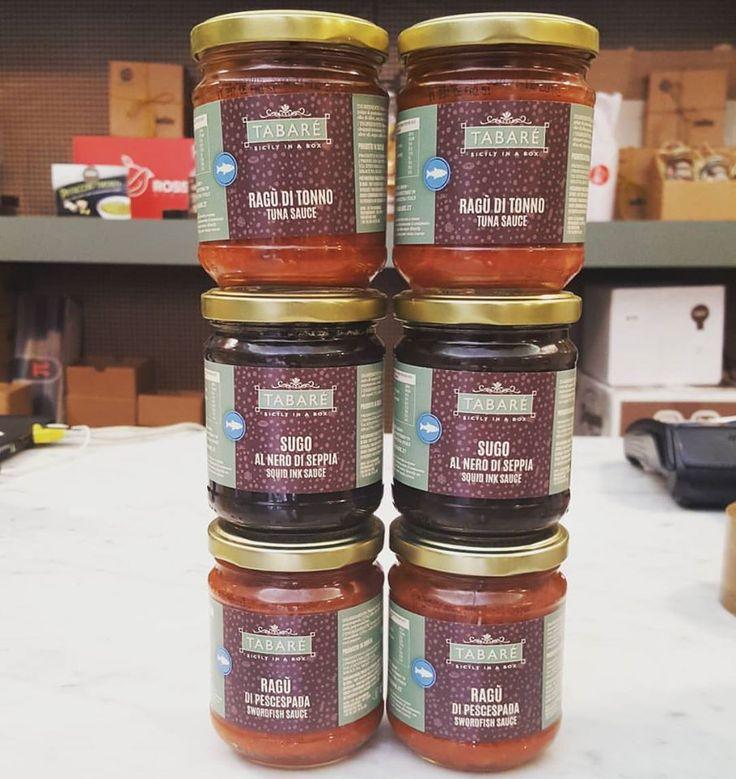 Our delicious fish products, perfect to flavor your pasta: Tuna sauce, Squid ink sauce and Swordfish sauce! #sicily #sicilia #fish #pesce #sauce #condiment #pasta #tuna #swordfish #squid ink #flavor #tabare #sicilianfood #food #siciliancuisine