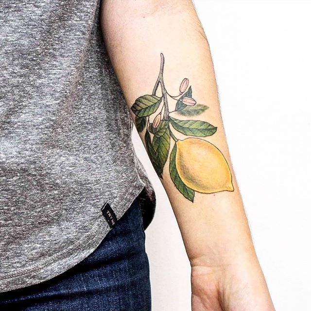 #limonero para Ana 💛  Tengo turnos disponibles 🙌  Tatuando en #buenosaires   #botanicaltattoo #tattooartist #flowers #belpainefilu #bttbuenosaires #flowertattoo #tattoolife #equilattera #illustration  #plants #TAOT  #nature #botanical #garden #naturetattoo #silverbackink #greenpoint