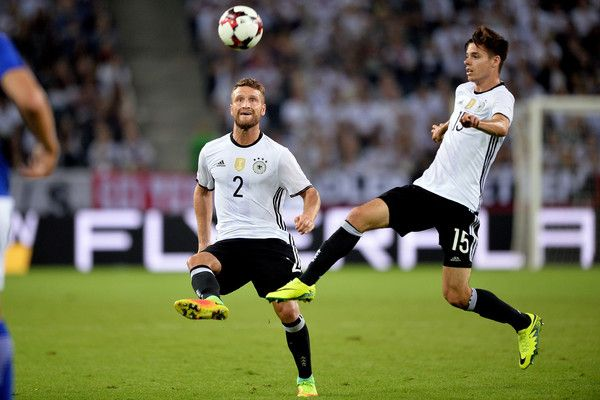 Julian Weigl Photos Photos - (L-R) Shkodran Mustafi and Julian Weigl of Germany play the ball during the international friendly match between Germany and Finland at Borussia-Park on August 31, 2016 in Moenchengladbach, Germany. - Germany v Finland - International Friendly