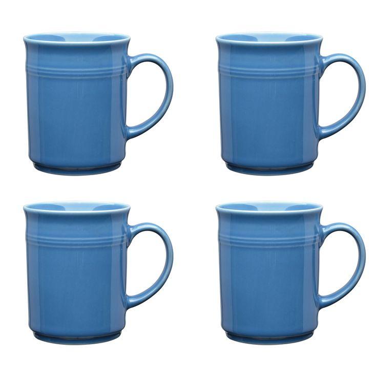 Culver Baristi Ceramic Mug 14-Ounce Set of 4 (Sky Blue)