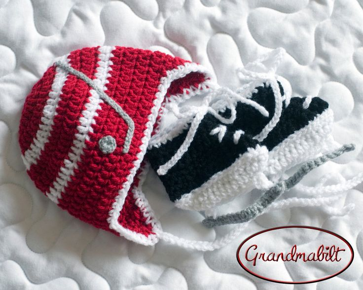 BABY HOCKEY HAT Detroit Red Wings pacifier not included, Crochet Baby Hockey Hat & Skates Set, Baby Knit Hockey Hat, Knit Baby Hockey Skates by Grandmabilt on Etsy