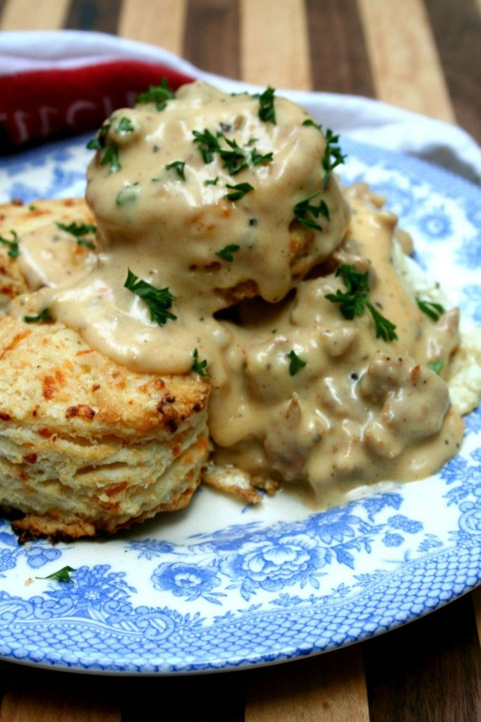 Homemade Cheddar Biscuits with Spicy Sausage Gravy.  I doubled the biscuits and doubled all but the Sausage for the gravy