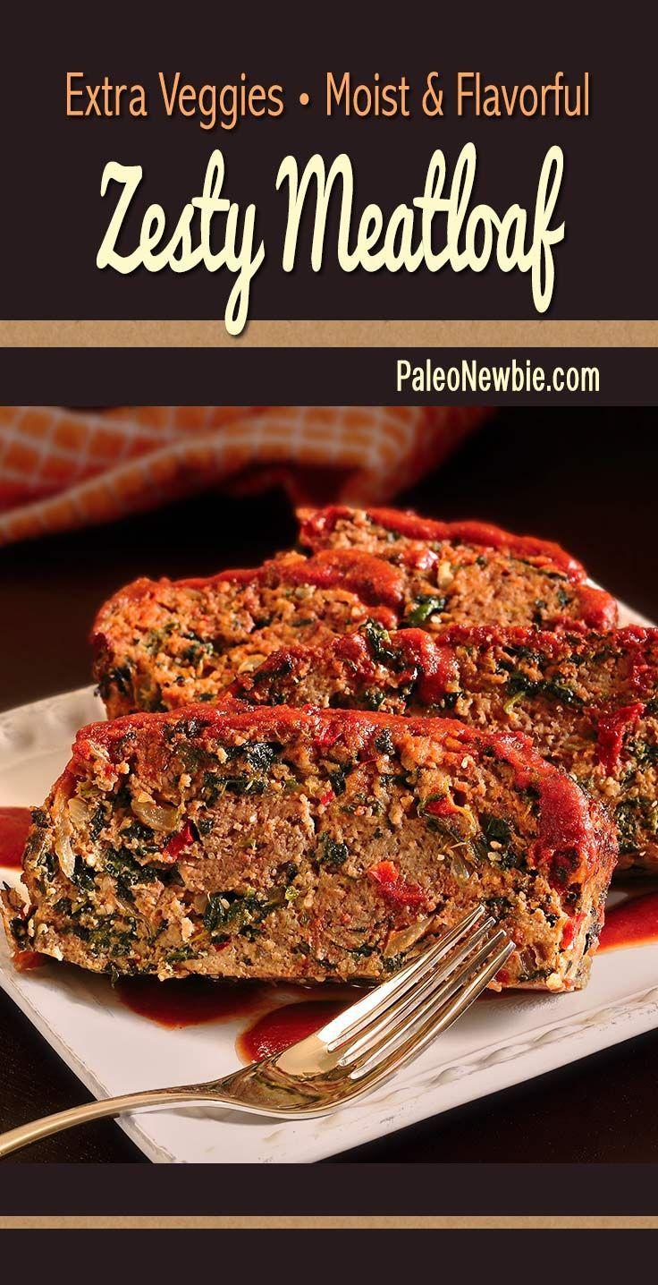 Zesty Meatloaf ~ A zippy, flavor-packed paleo and gluten-free meatloaf loaded with extra veggies, herbs and spices. Easy recipe – use ground turkey (pictured) or beef. #paleo #glutenfree