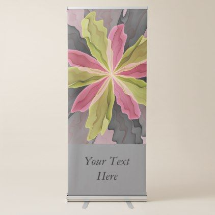 Joy Pink Green Anthracite Fantasy Flower Text Retractable Banner - modern style idea design custom idea