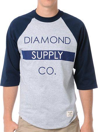 Diamond Supply Co Bar Logo Navy Baseball Tee Shirt at Zumiez : PDP