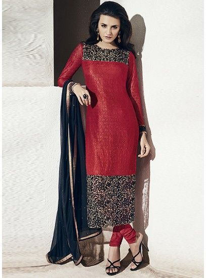 Adorable Look With This Red And Black Rachel Net Designer Straight Suit-1005-B