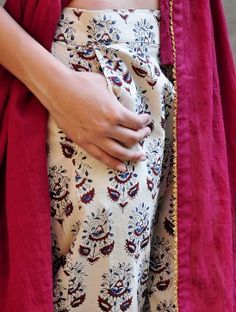 Maroon-Beige Gota Embellished Pleated Cotton Kurta with Natural Dyed & Block Printed Elasticated Waist Cotton Pencil Pants Set of 2-S