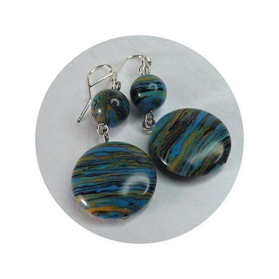 Turquoise Blue Multi-Hued Calsilica Dangle Earrings - Silver Plate