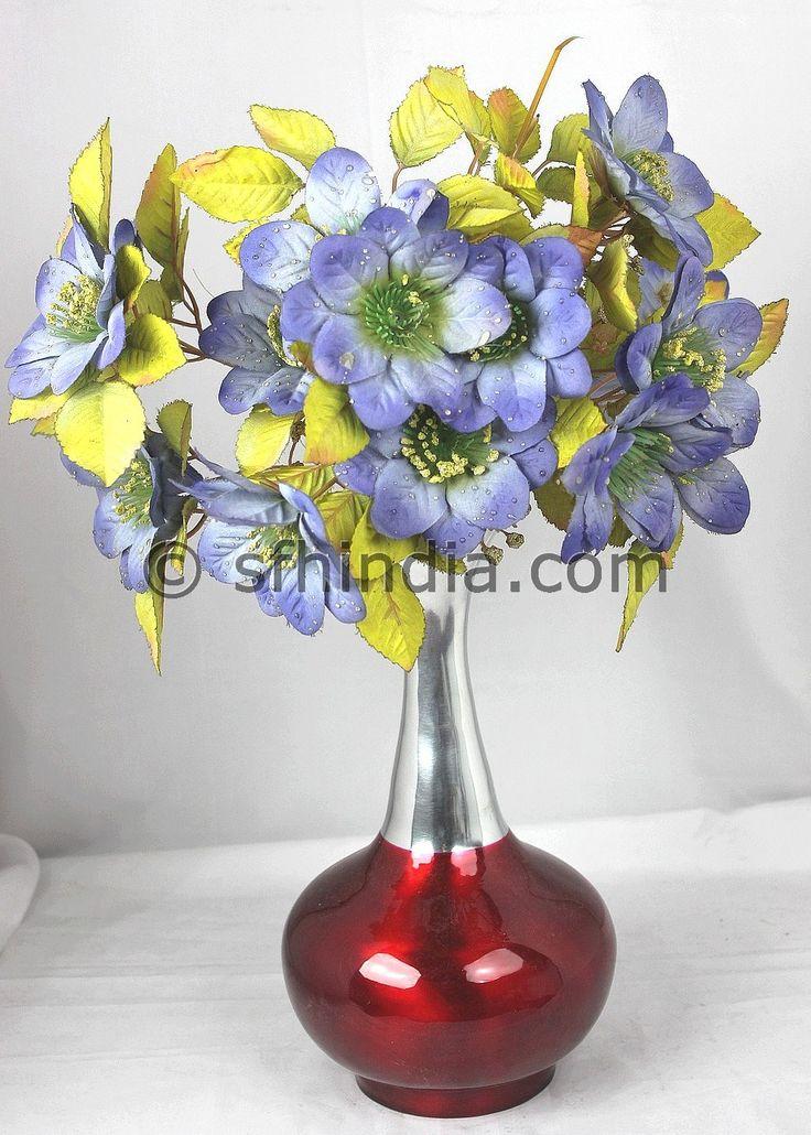 Aluminium Vase with Red enamel Colour. Beautiful design.Handmade.
