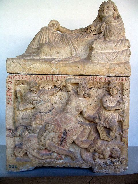 Etruscan urn in Perugia. Scylla and Odysseus. Palazzone, Villa Baglioni. The Hypogeum of the women of the Velimna (Latin Volumni) family, found in 1797. End of the 3rd - 2nd cent. BCE