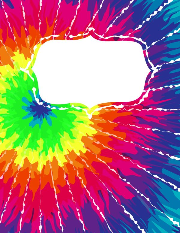 Free printable tie dye binder cover template. Download the cover in JPG or PDF format at http://bindercovers.net/download/tie-dye-binder-cover/