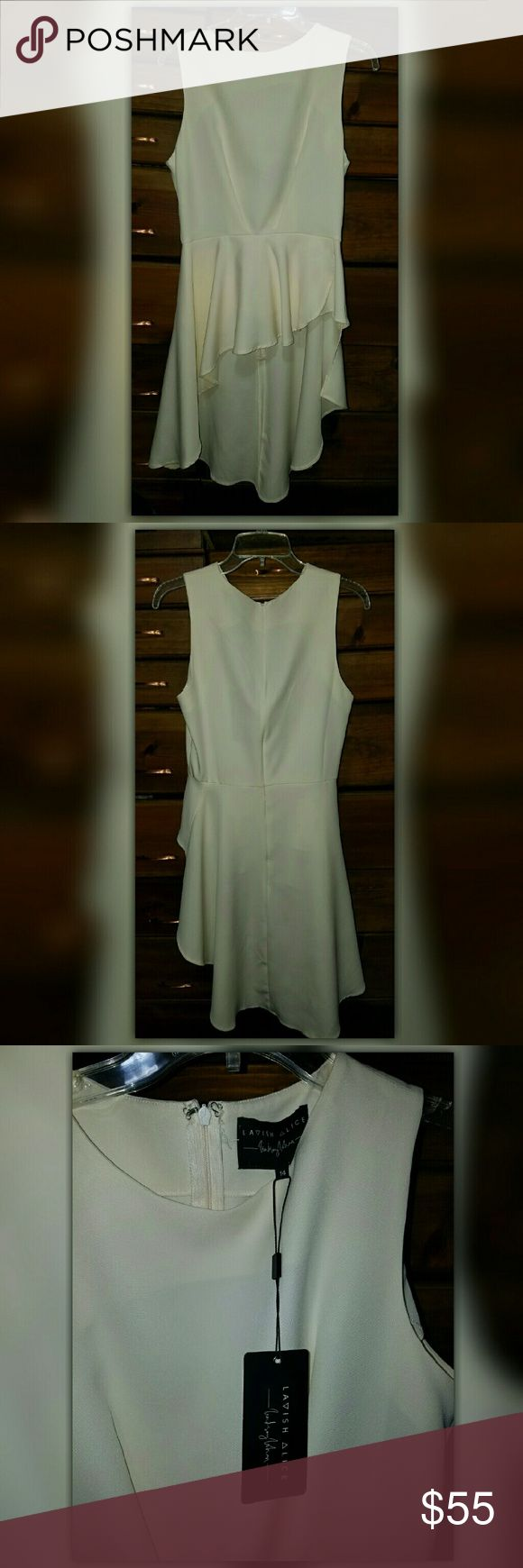 Lavish Alice Cream Waterfall Structured Top Blouse LAVISH ALICE Cream Waterfall Structured Top  The photos do not do justice for this beautiful top by Lavish Alice.  Photo 1: Front Photo 2: Back  Asymetrical flowing blouse that drapes down the back.   Sleeveless, Zipper Back Closure, Nice Matetial... Womens Size 14  PLEASE NOTE: According to this site's sizing chart this would fall into a Size: Large. But according to Lavish Alice sizing chart this would be an Extra Large, thetefore; I…
