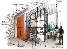 Croquis architecture intérieure verrière - Dominique JEAN