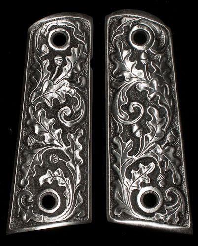 Colt 1911 Gun Grips Rare Solid Pewter Oak Leaf Engraved Kimber Heavy