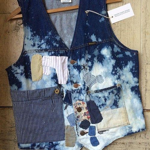 Brown Tabby Works Bleached Boro vest going up on my etsy store this week. #browntabbyworks #boro #denim #vest @naritabby  https://www.etsy.com/listing/189299080/hobo-rodeo-bleach-boro-vest
