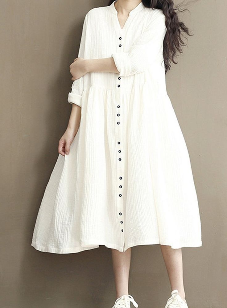 Women loose fit over plus size white dress linen button up long maxi skirt tunic #Unbranded #dress #Casual