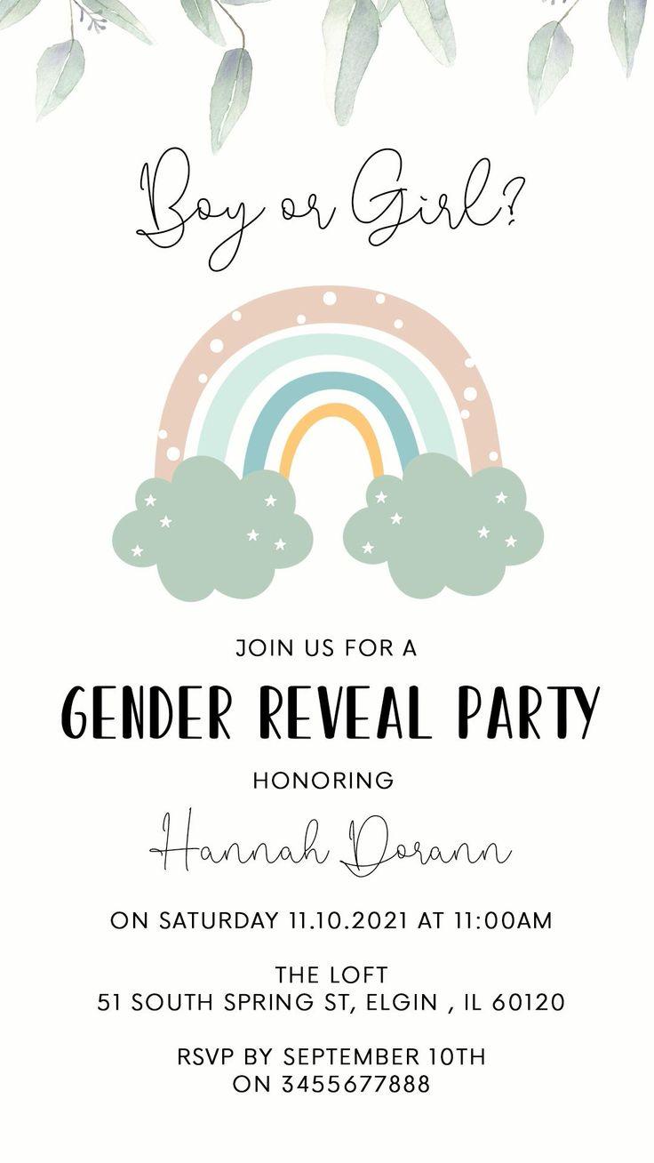Rainbow Gender Reveal Video Evite Electronic Invite Boy Or Etsy Video Video In 2021 Gender Reveal Video Gender Reveal Party Invitations Animated Invitations