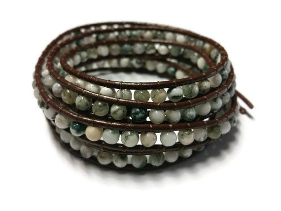White and Green Beaded Bracelet Brown Leather by BriAndAshStore