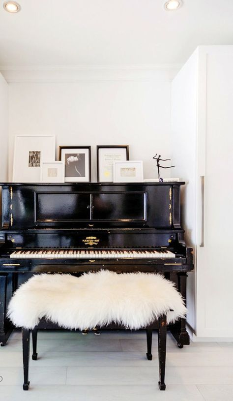 Chic piano area. Living room. Home decor and interior decorating ideas