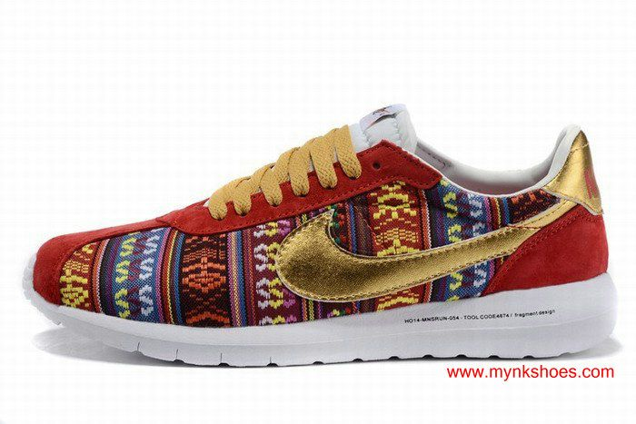 4128ccaaa62 Nike X Fragment Roshe 1000 Ethnic Style Red Golden Womens Shoes  64.00