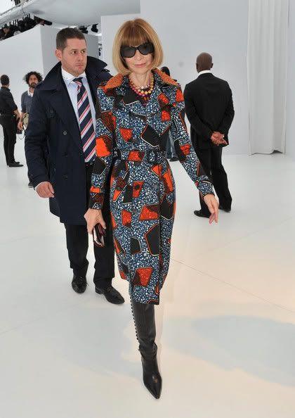Anne Wintour in Ankara printed jacket