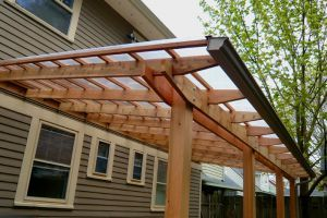pergola patio roof with gutter outdoor home ideas pinterest