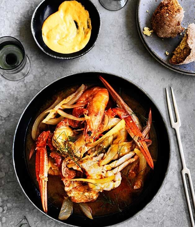 Crab, Prawn and Fennel Stew with Rouille l Australian Gourmet Traveller - think of this as a simpler version of bouillabaisse with all the flavours but less work