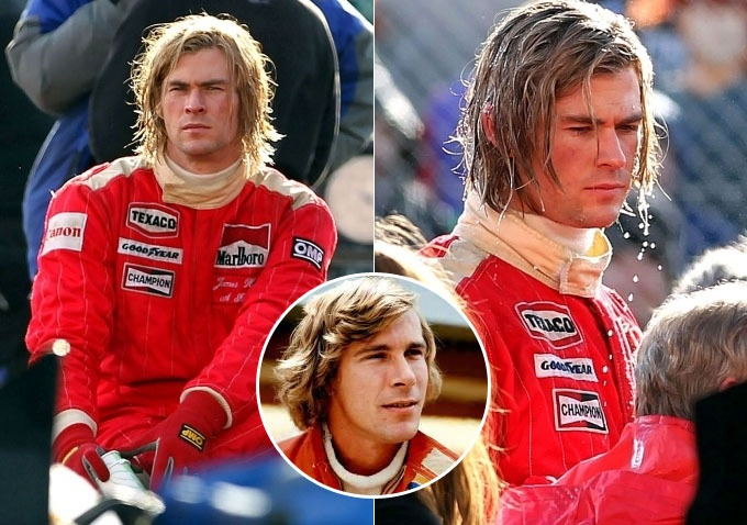 Chris Hemsworth plays F1 world champion James Hunt in upcoming movie 'Rush' by Ron Howard.  Also stars Olivia Wilde as Suzy Miller (Hunt's wife) and Daniel Bruhl as Niki Lauda.