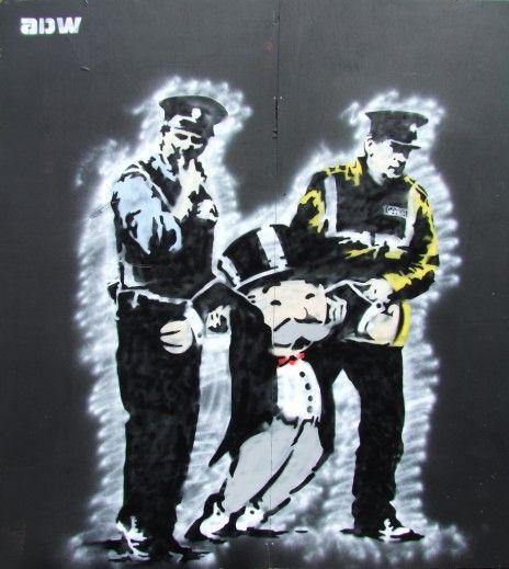 The end of the monopoly...Graffiti Artworks, Adw Monopoly, Street Art, Monopoly Guys, Art Urbano, Stencils Art, Wall Street, La Crise, Streetart