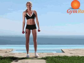 Stand with feet slightly apart and arms extended at your sides with dumbbells in hands, palms facing each other. Inhale, tigthen your abs, and alternate doing a curtsy, dropping your foot on the way down. Make sure to land on your ankle. Exhale and push off with your front leg when coming up. Make sure your knee does hit on the ground on the way down. Do 15 reps on each side. WORKS GLUTES, QUADS