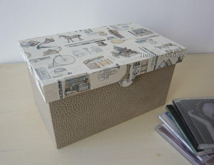 Bonjour J'espère que la rentrée s'est bien passée chez vous, et que la reprise n'est pas trop difficile. Je vous montre aujourd'hui un petit cartonnage bien utile. Il s'agit d'une boite de rangement pour CD. Cette boite est très facile à réaliser. Alors...
