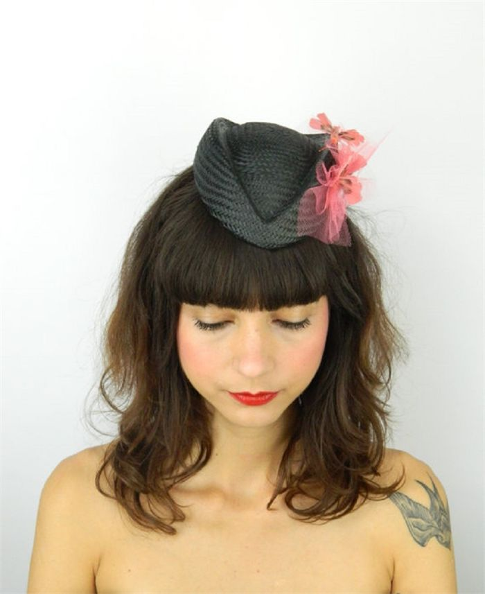 Pillbox Hat Fascinator Headpiece in Gunmetal with Coral Butterflies and Veil