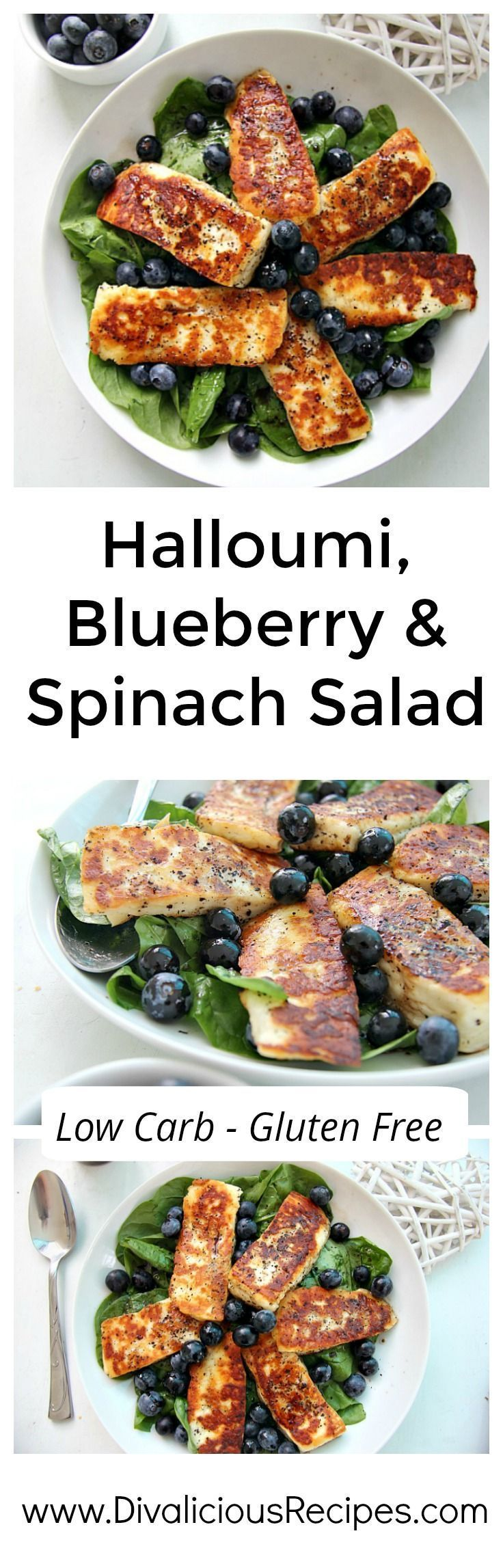 A vibrant Halloumi salad with blueberries and spinach that is a contrast of textures and flavours. Bright colours and rich tastes combine for a hearty dish.  Recipe - http://divaliciousrecipes.com/2017/05/28/halloumi-blueberry-spinach-salad/
