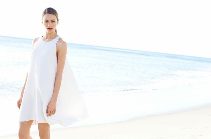 beautiful blue #ocean #white #flow #dress #aritzia #aritziacleanslate